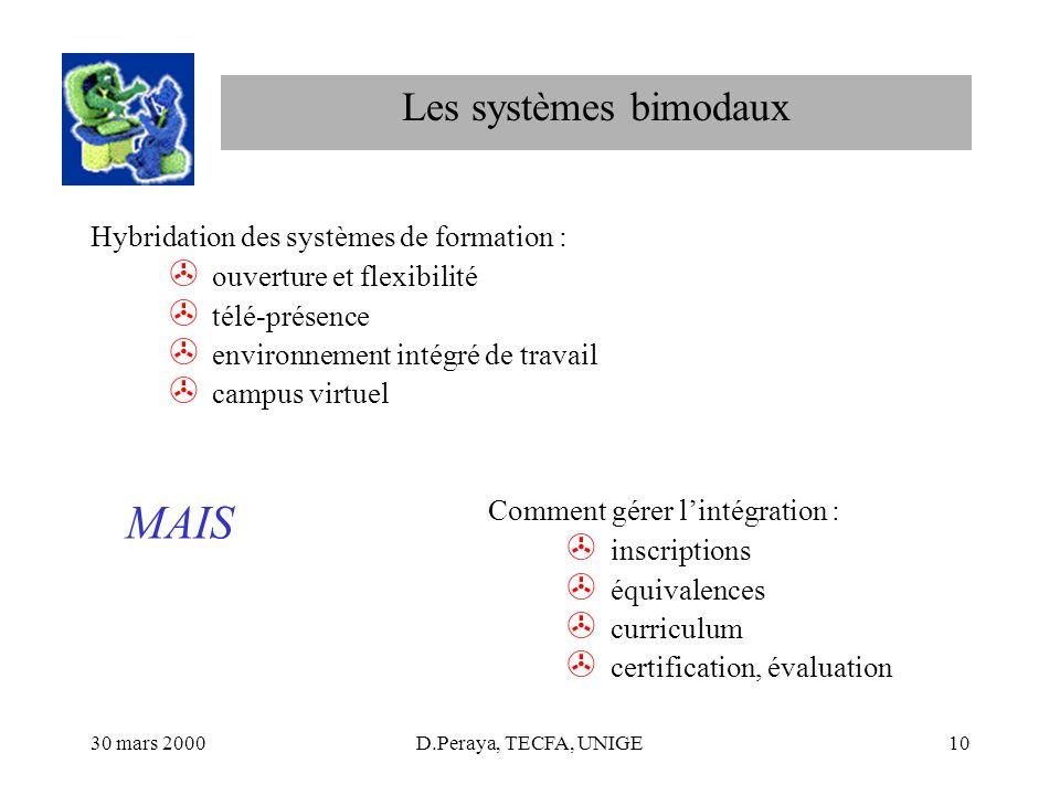 MAIS Les systèmes bimodaux Hybridation des systèmes de formation :