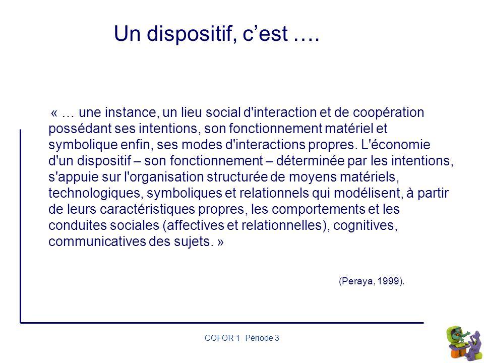 Un dispositif, c'est …. (Peraya, 1999). COFOR 1 Période 3