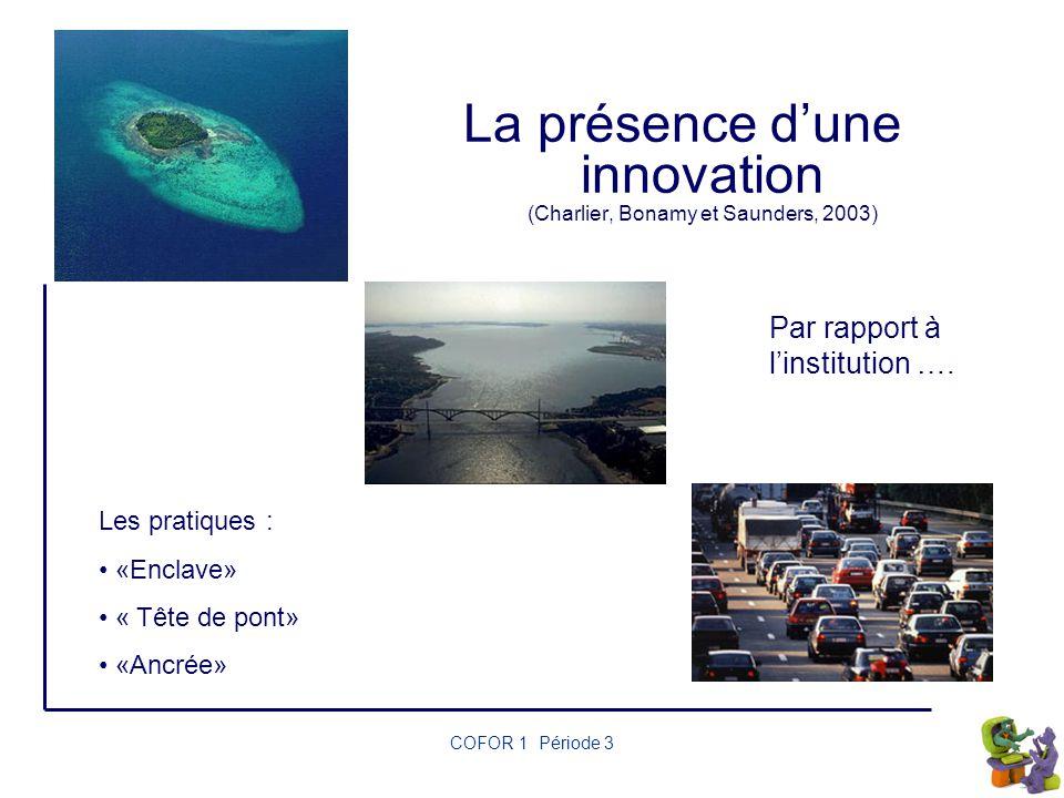 La présence d'une innovation (Charlier, Bonamy et Saunders, 2003)