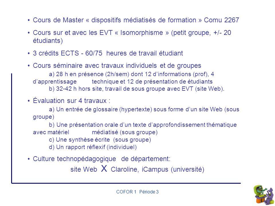 Cours de Master « dispositifs médiatisés de formation » Comu 2267