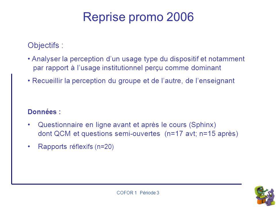 Reprise promo 2006 Objectifs :