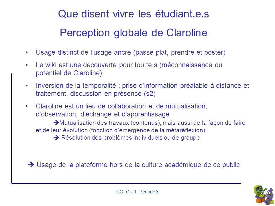 Que disent vivre les étudiant.e.s Perception globale de Claroline
