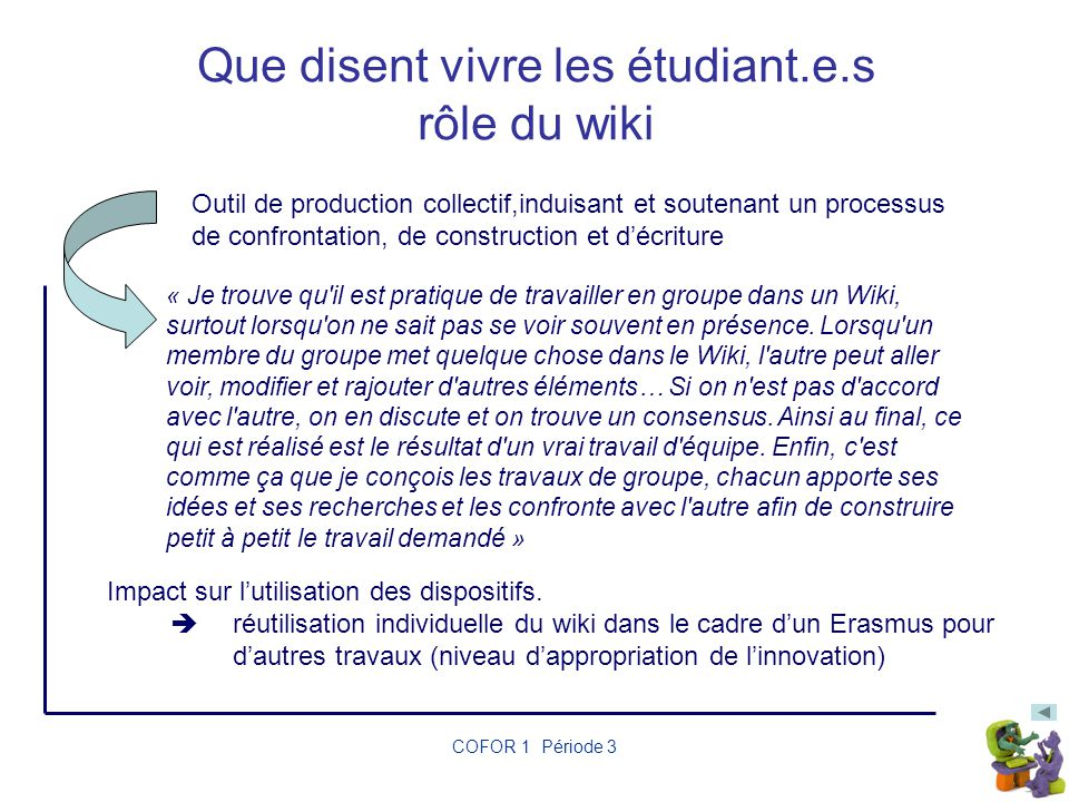 Que disent vivre les étudiant.e.s rôle du wiki