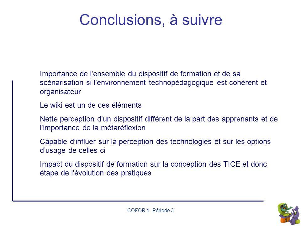 Conclusions, à suivre