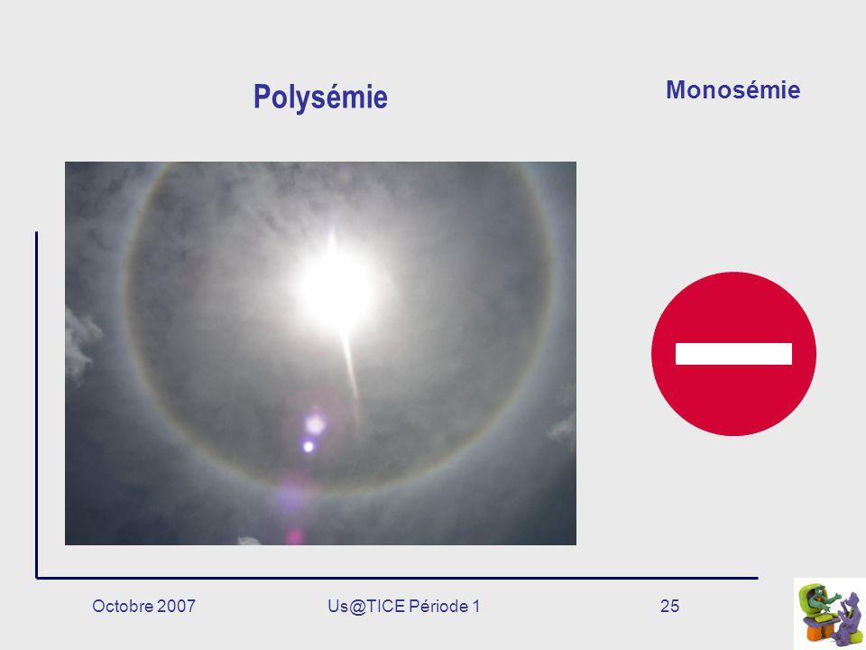 Polysémie Monosémie Octobre 2007 Us@TICE Période 1