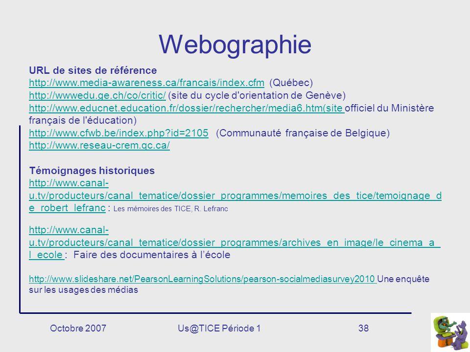Webographie URL de sites de référence