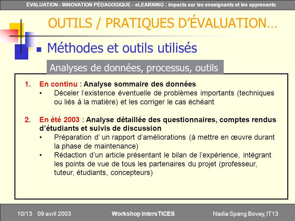 OUTILS / PRATIQUES D'ÉVALUATION…
