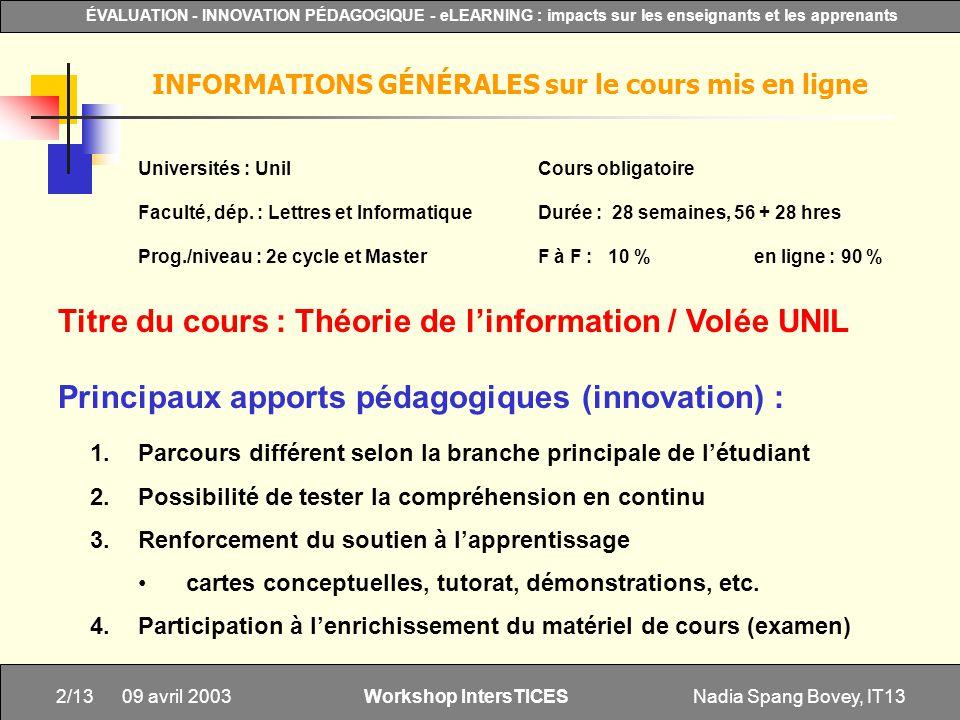 INFORMATIONS GÉNÉRALES sur le cours mis en ligne