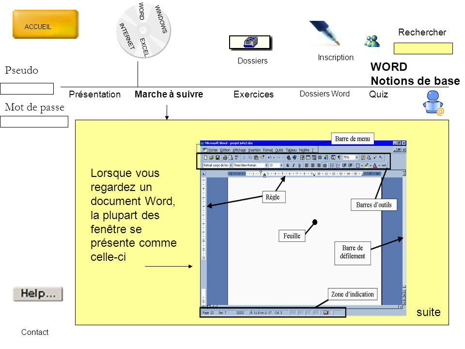 WORD Pseudo Notions de base Mot de passe