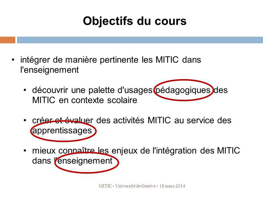 Objectifs du cours intégrer de manière pertinente les MITIC dans l enseignement