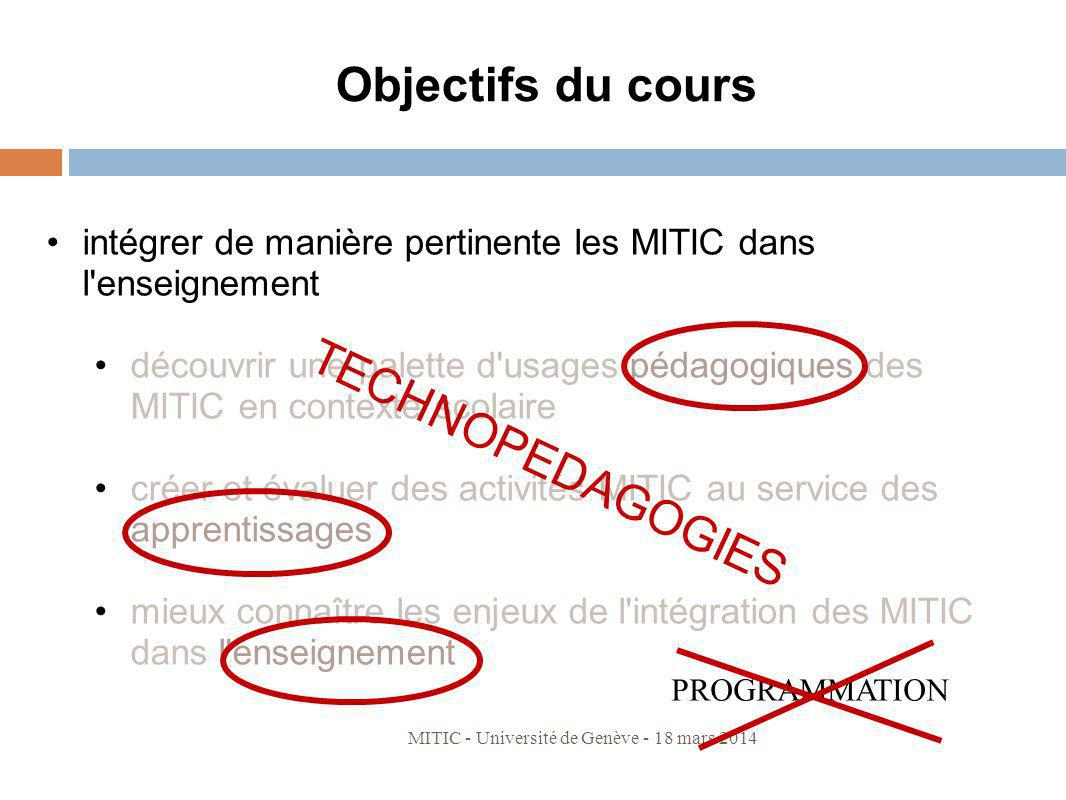 Objectifs du cours TECHNOPEDAGOGIES