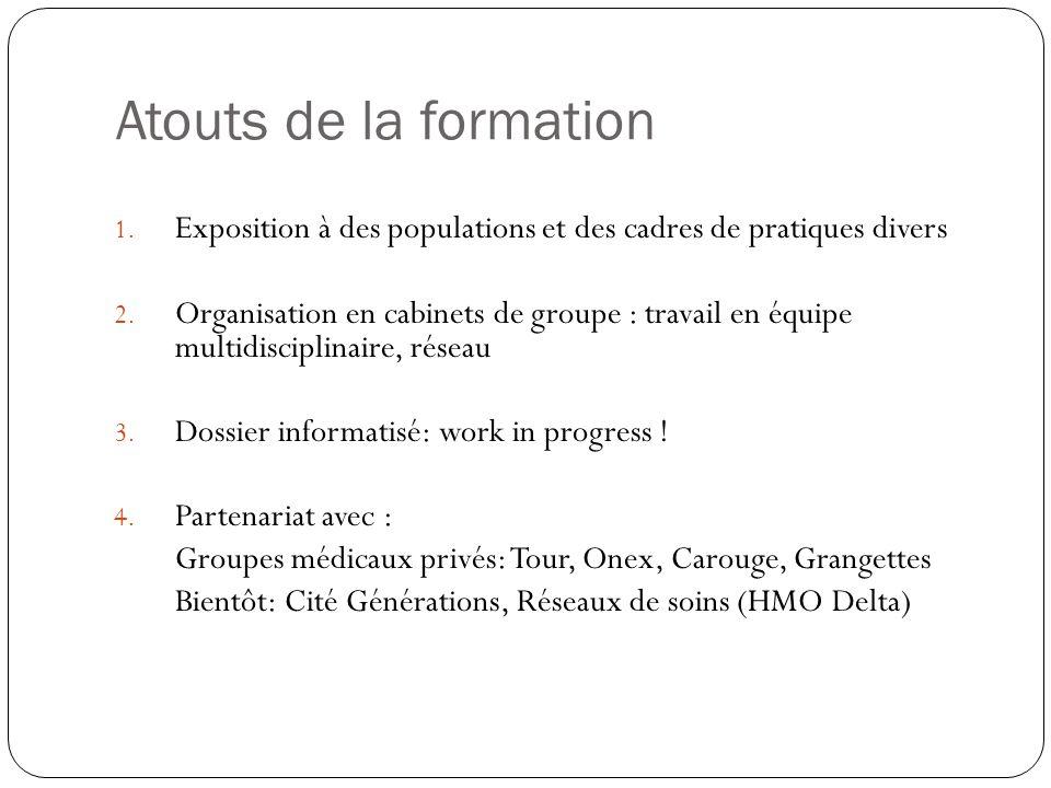 Atouts de la formation Exposition à des populations et des cadres de pratiques divers.