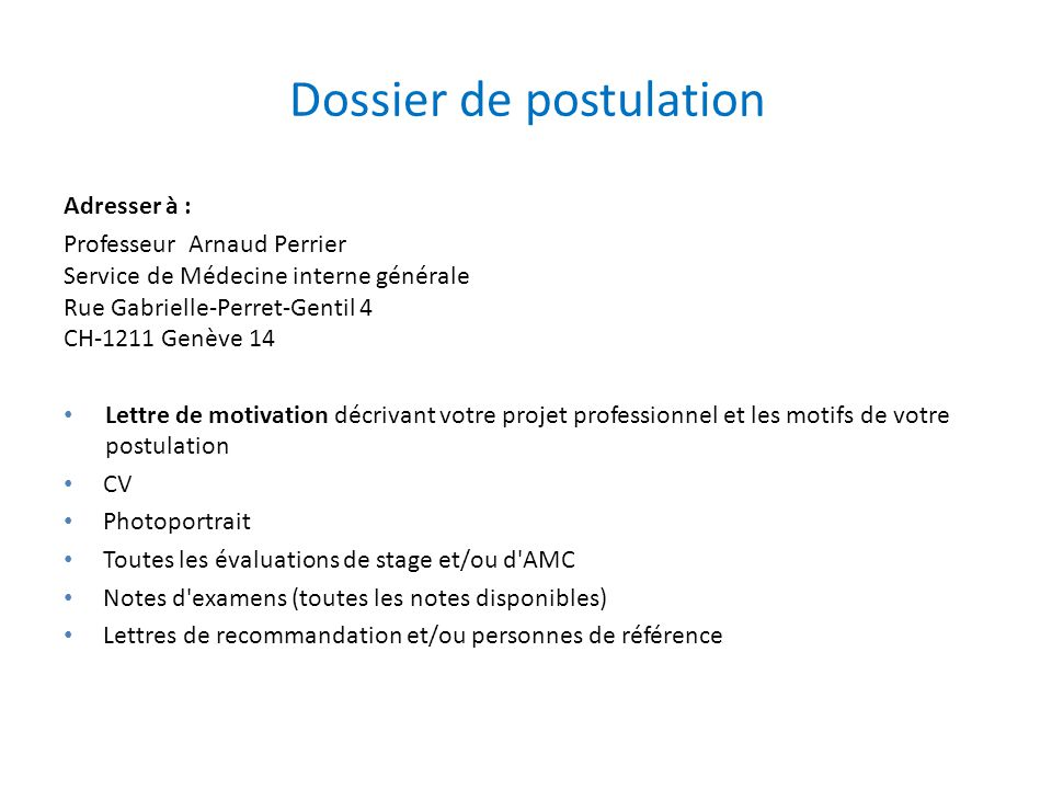 Dossier de postulation