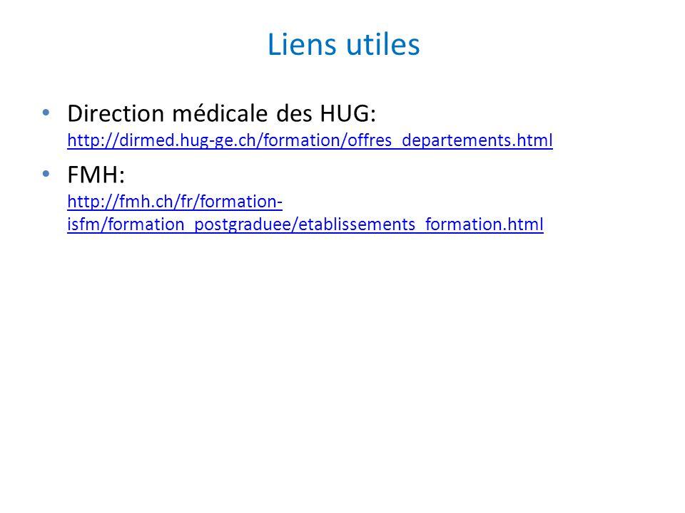 Liens utiles Direction médicale des HUG: http://dirmed.hug-ge.ch/formation/offres_departements.html.