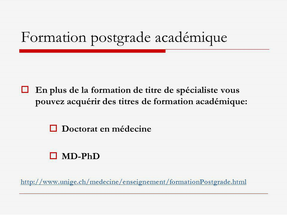 Formation postgrade académique