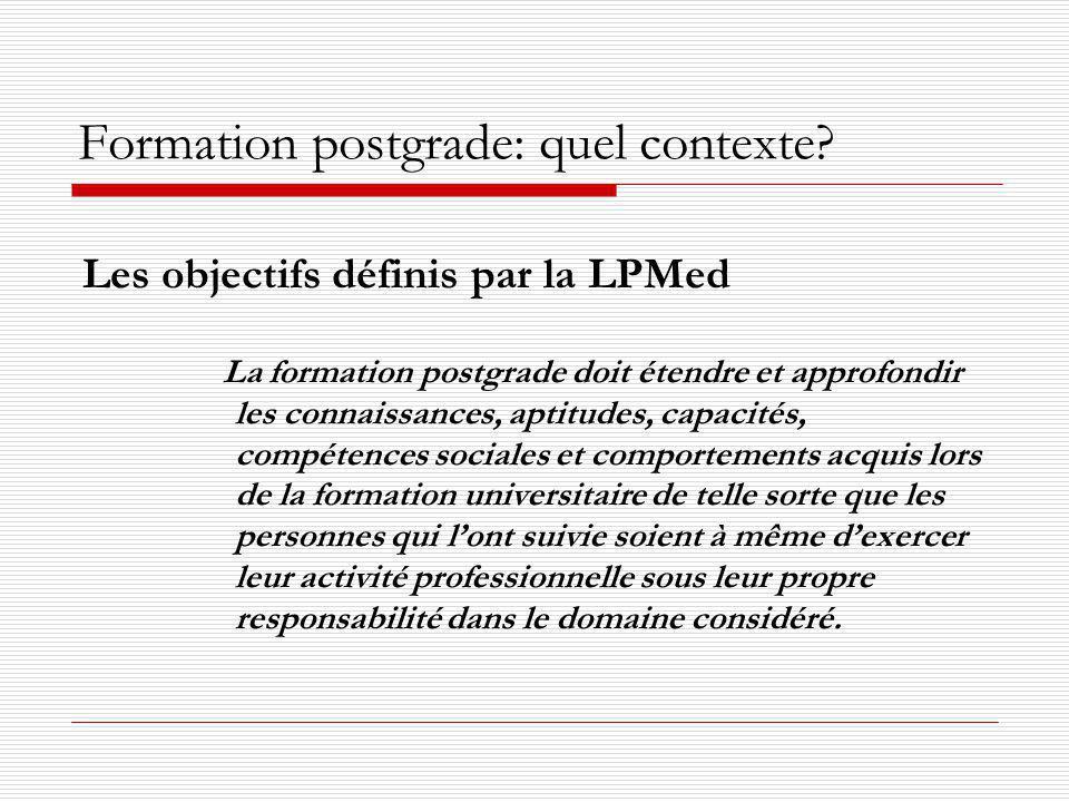 Formation postgrade: quel contexte