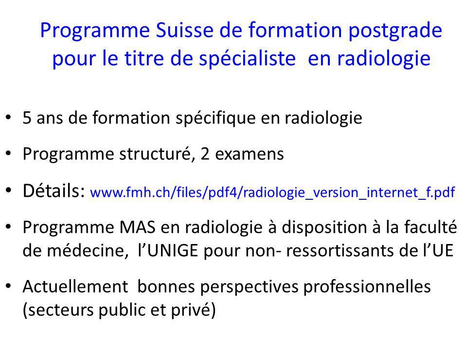Programme Suisse de formation postgrade pour le titre de spécialiste en radiologie