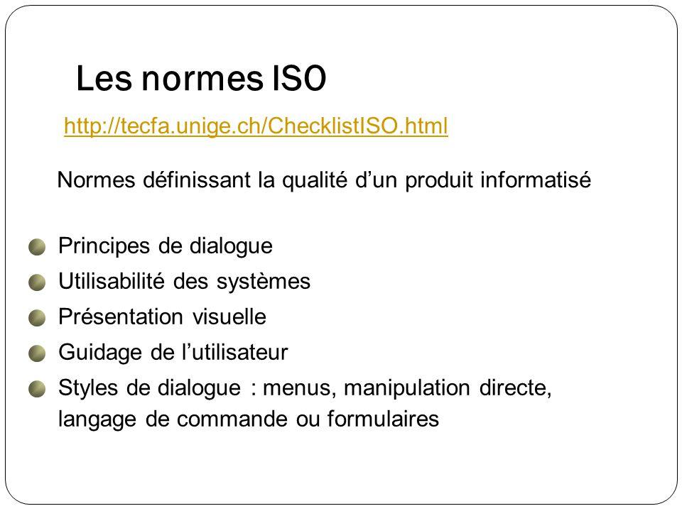 Les normes ISO http://tecfa.unige.ch/ChecklistISO.html