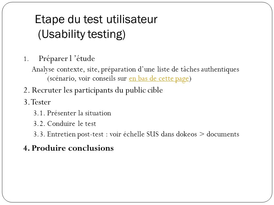 Etape du test utilisateur (Usability testing)