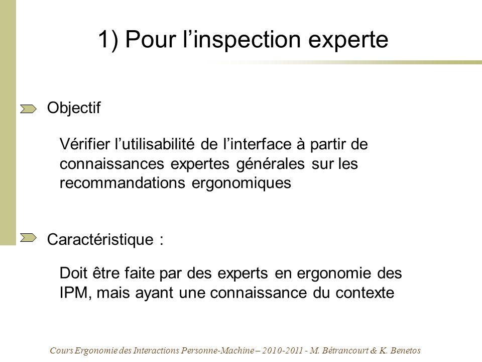 1) Pour l'inspection experte
