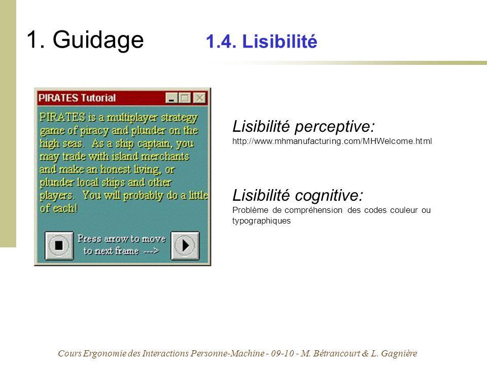 1. Guidage 1.4. Lisibilité Lisibilité perceptive: