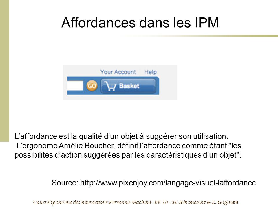 Affordances dans les IPM