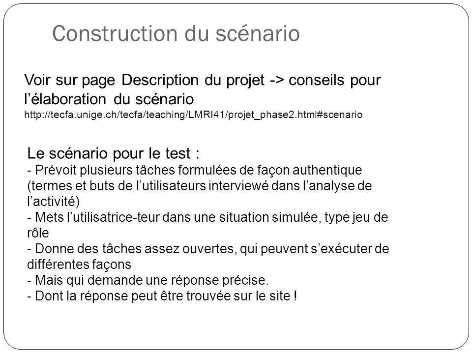 Construction du scénario