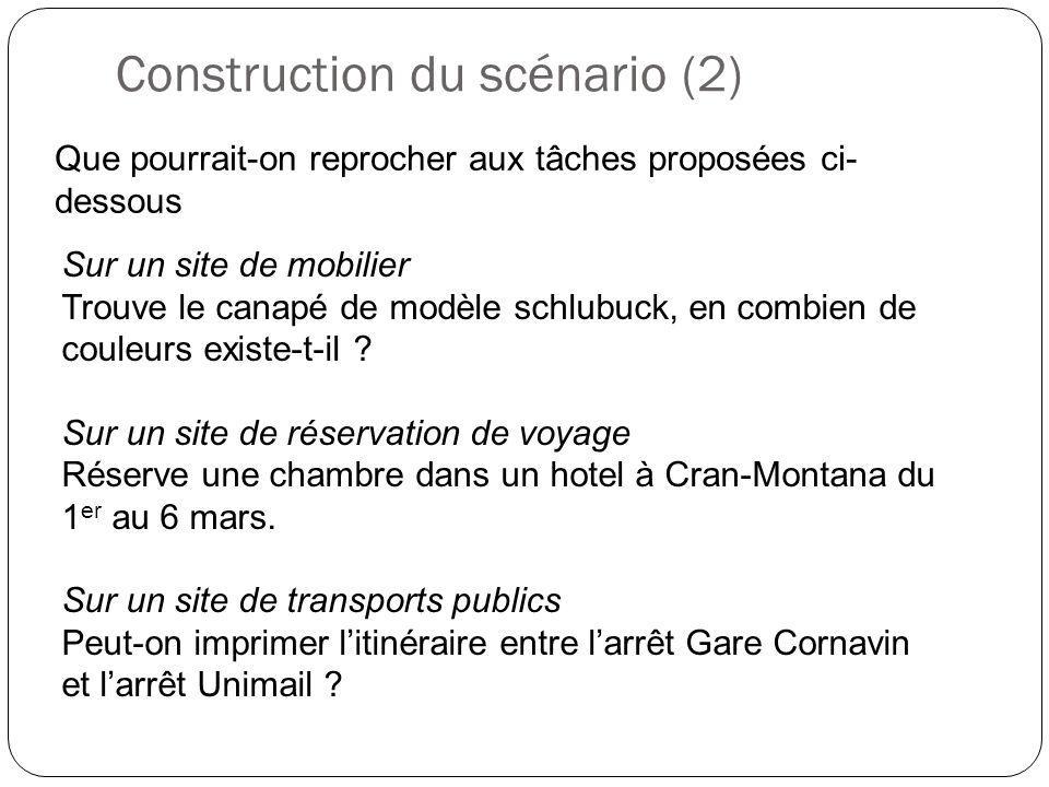 Construction du scénario (2)