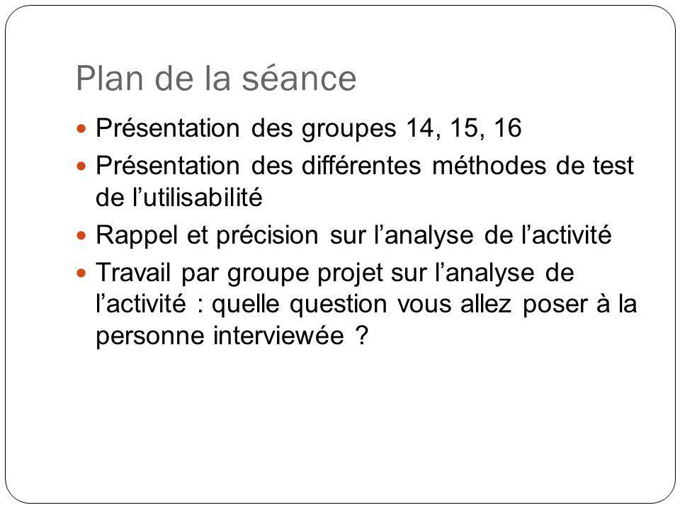Plan de la séance Présentation des groupes 14, 15, 16
