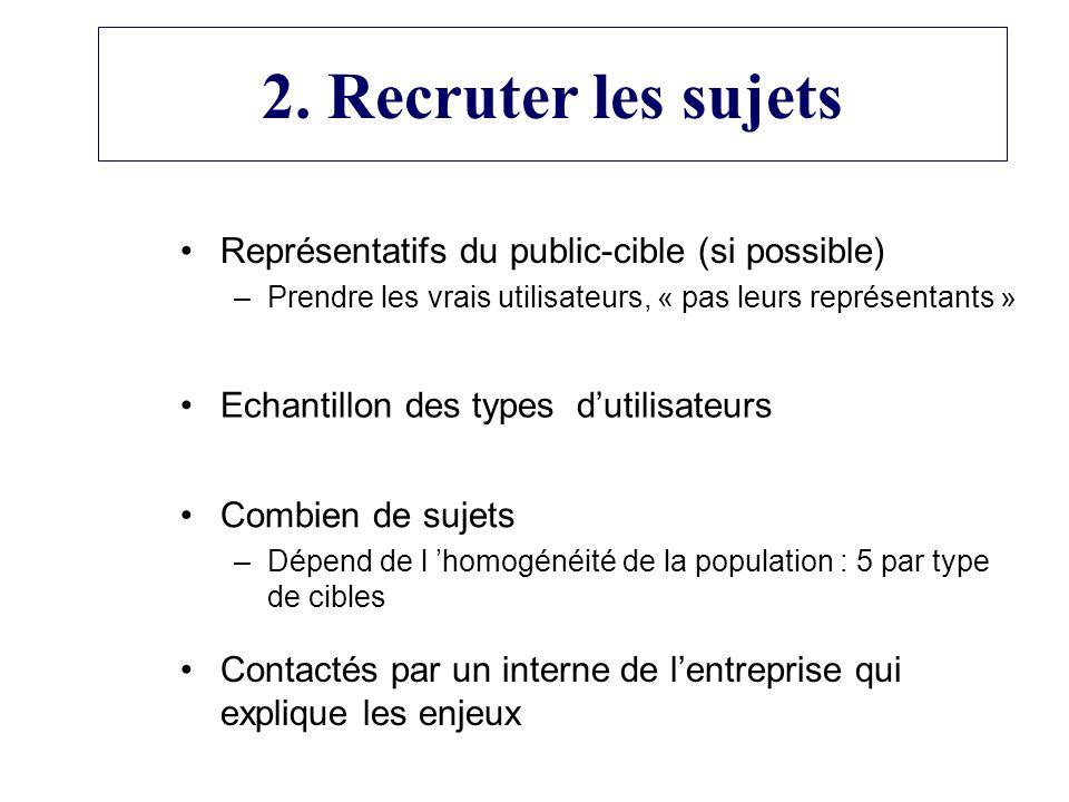 2. Recruter les sujets Représentatifs du public-cible (si possible)