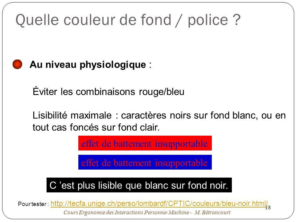 Quelle couleur de fond / police