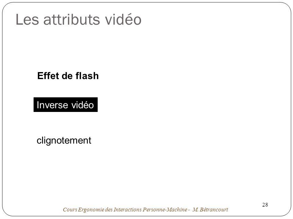 Les attributs vidéo Effet de flash Effet de flash Inverse vidéo