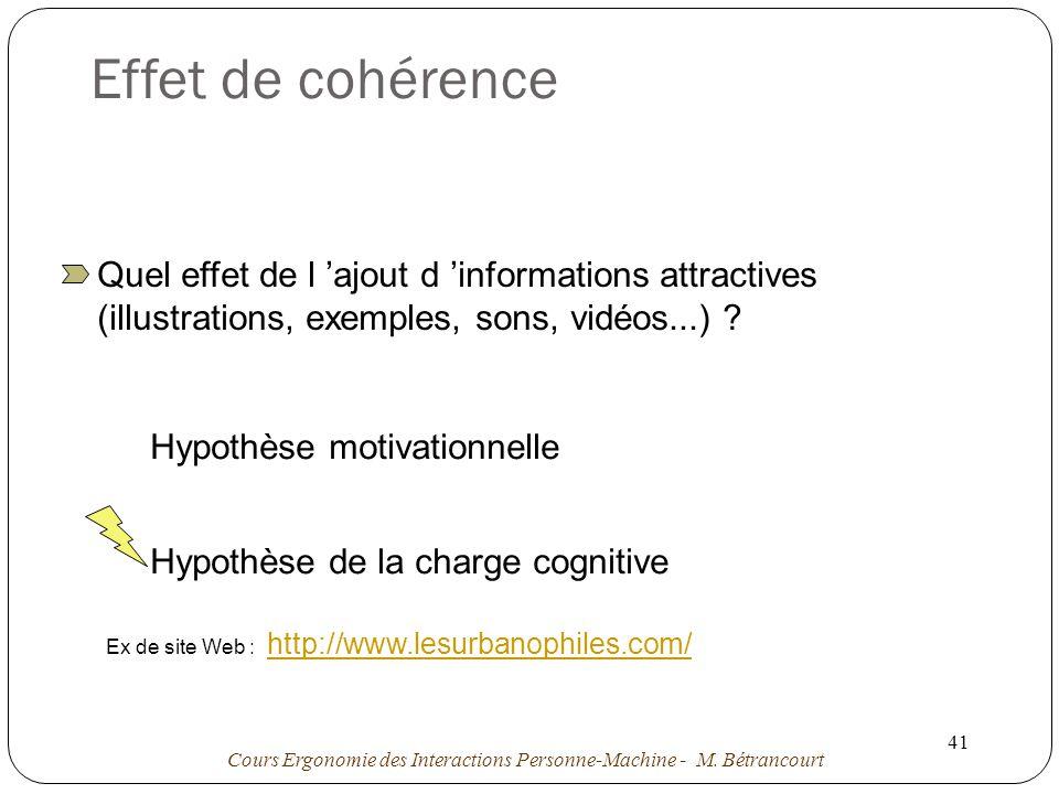 Effet de cohérence Quel effet de l 'ajout d 'informations attractives (illustrations, exemples, sons, vidéos...)