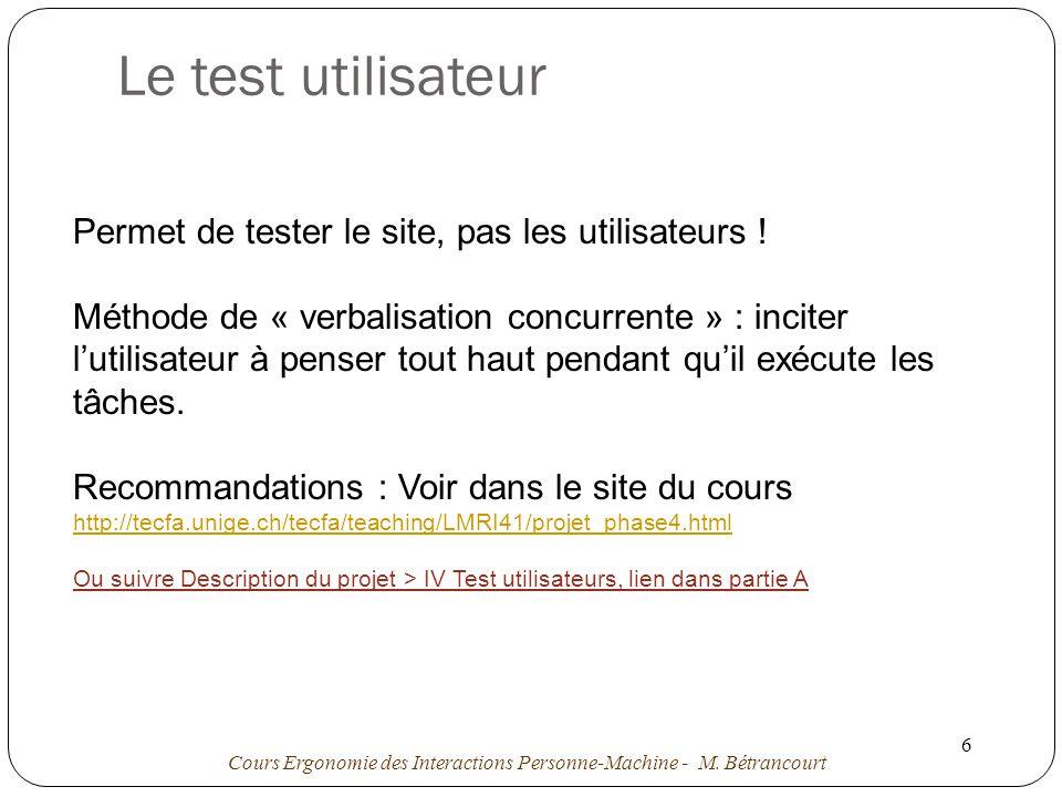 Le test utilisateur Permet de tester le site, pas les utilisateurs !