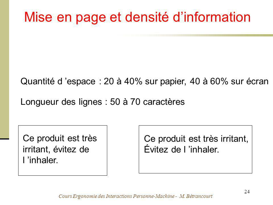 Mise en page et densité d'information