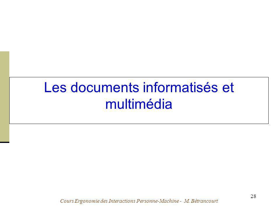 Les documents informatisés et multimédia