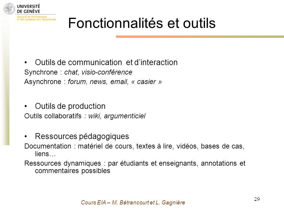 Fonctionnalités et outils