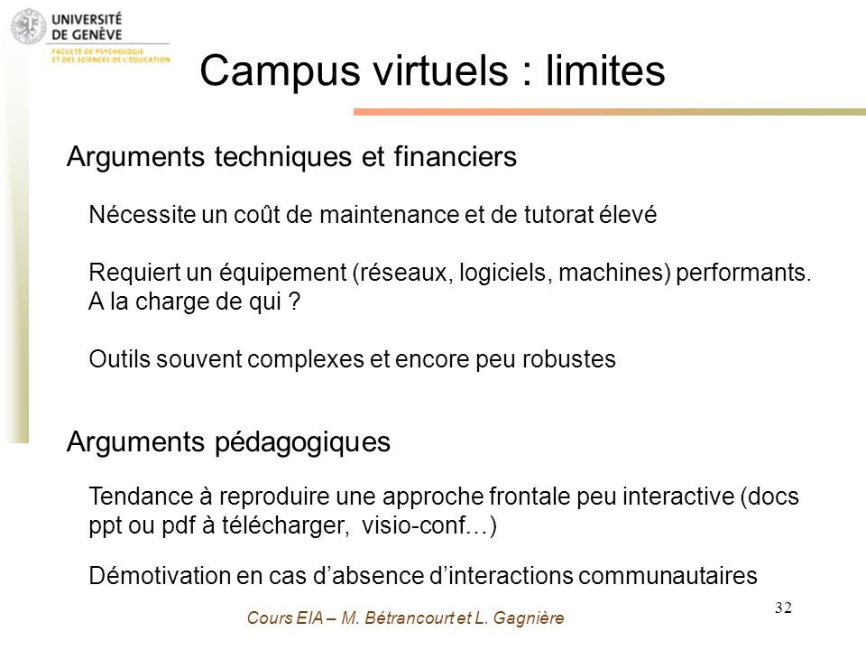 Campus virtuels : limites