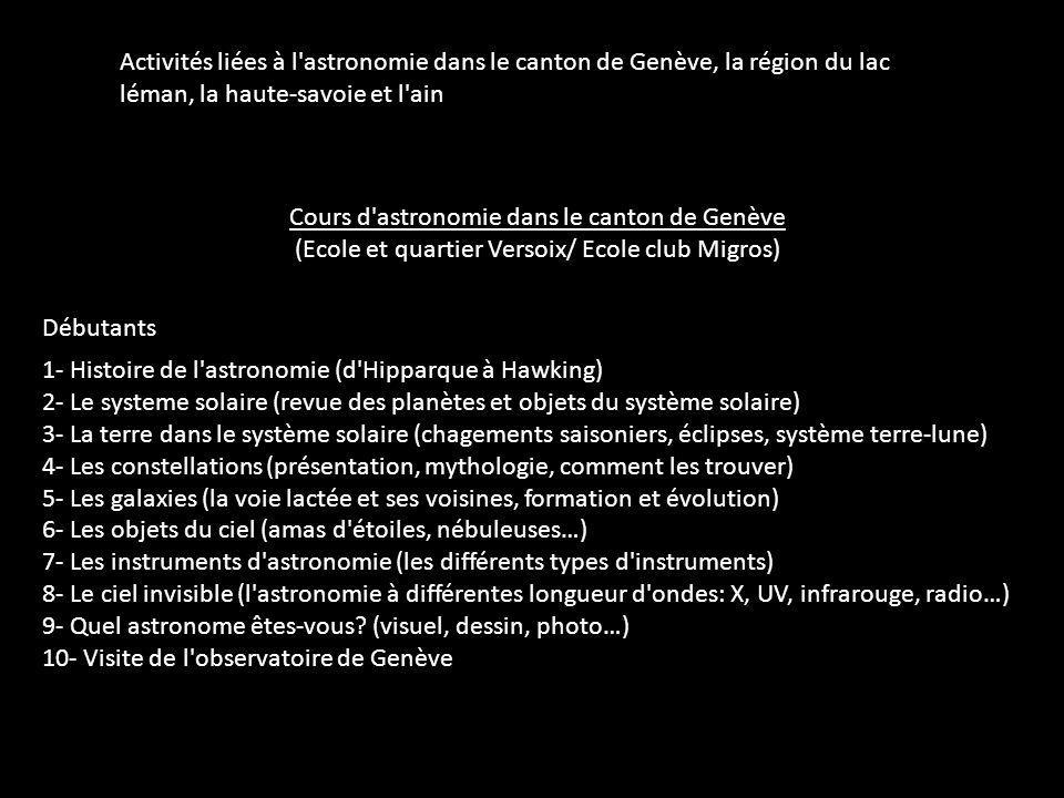 Cours d astronomie dans le canton de Genève