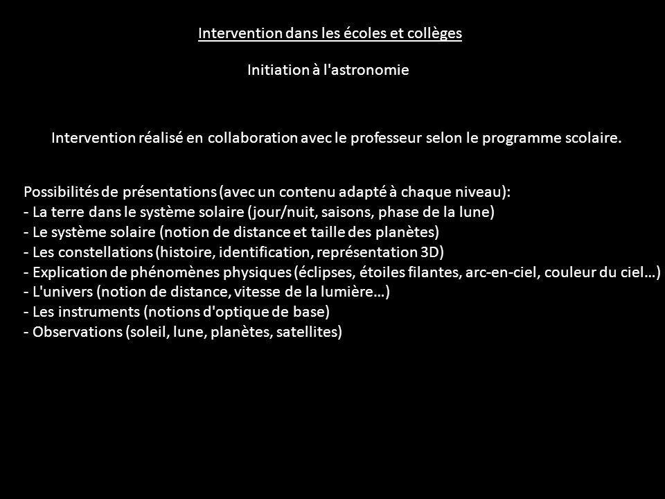 Intervention dans les écoles et collèges