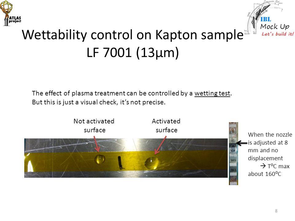 Wettability control on Kapton sample LF 7001 (13μm)
