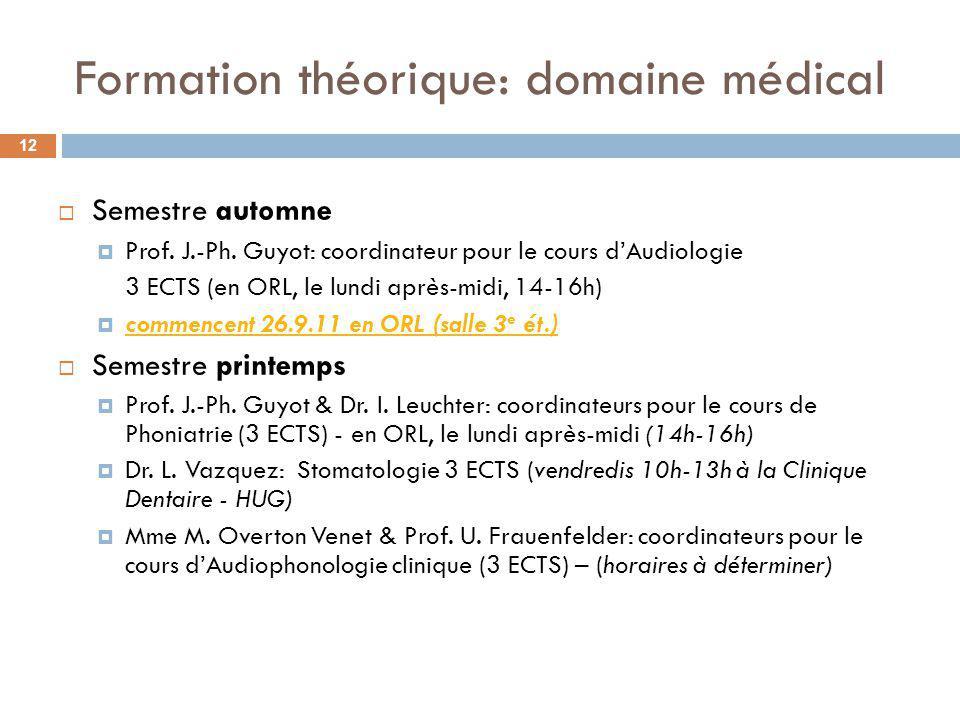 Formation théorique: domaine médical