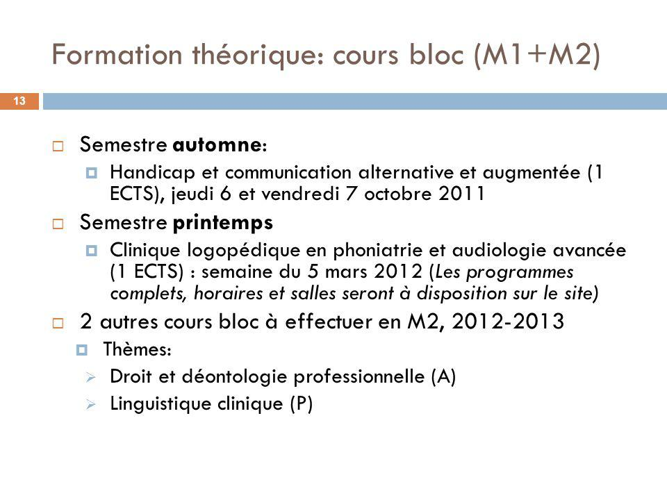 Formation théorique: cours bloc (M1+M2)