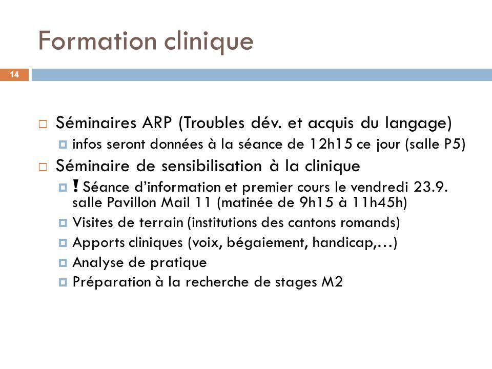 Formation clinique Séminaires ARP (Troubles dév. et acquis du langage)