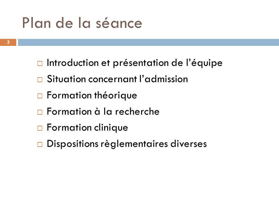Plan de la séance Introduction et présentation de l'équipe