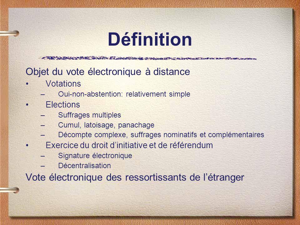 Définition Objet du vote électronique à distance