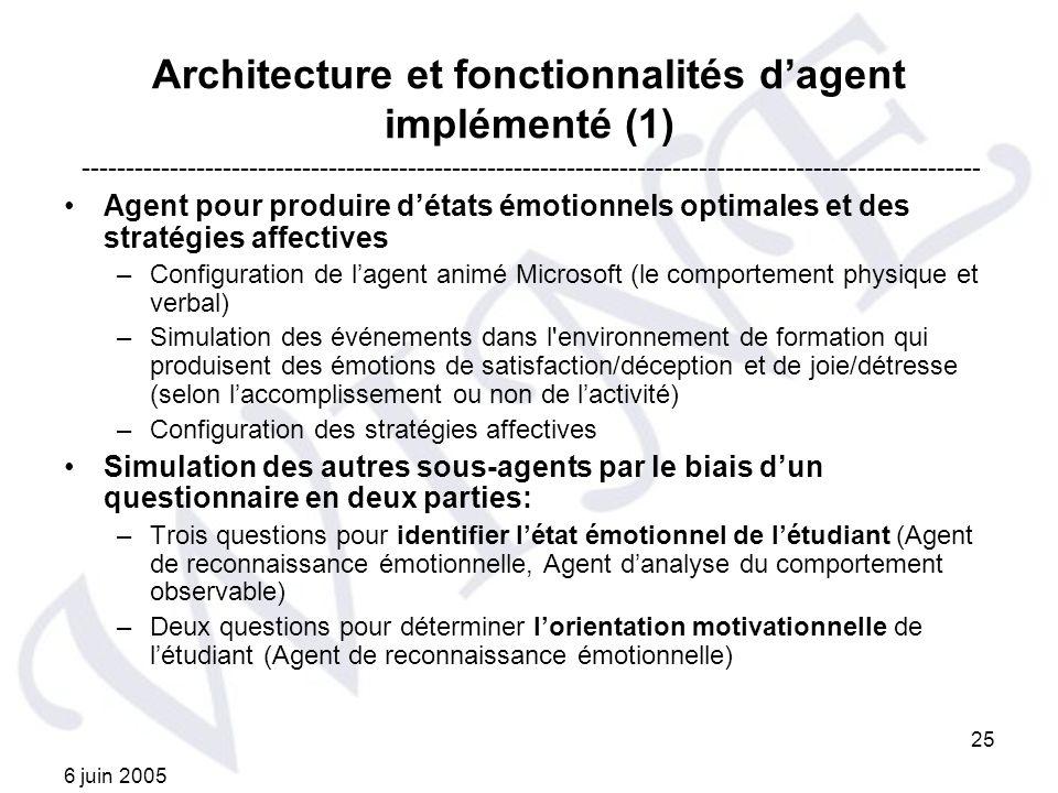 Architecture et fonctionnalités d'agent implémenté (1)