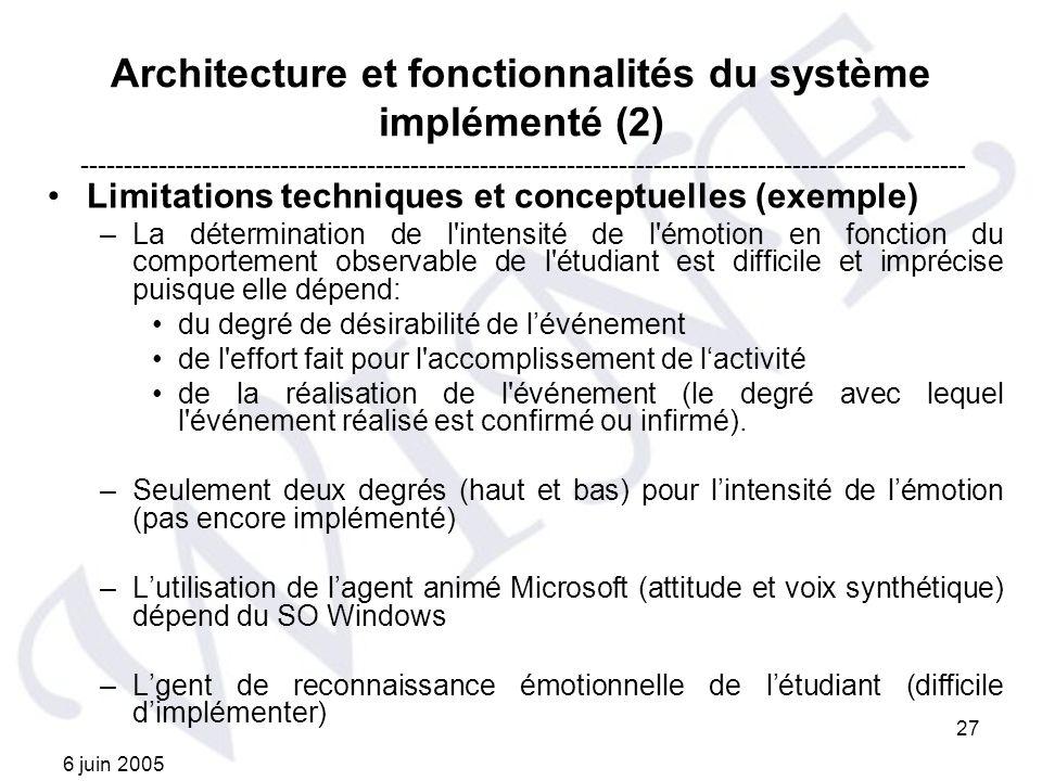 Architecture et fonctionnalités du système implémenté (2)