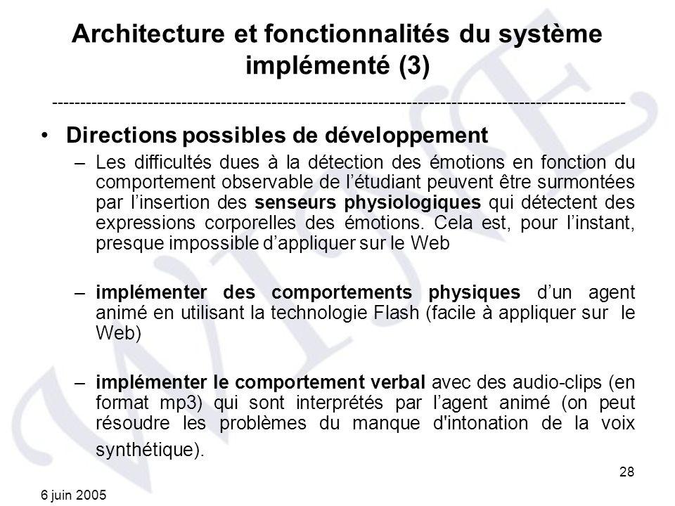 Architecture et fonctionnalités du système implémenté (3)