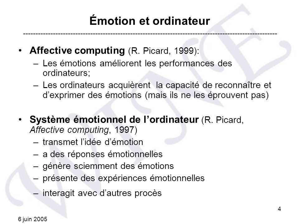 Émotion et ordinateur Affective computing (R. Picard, 1999):